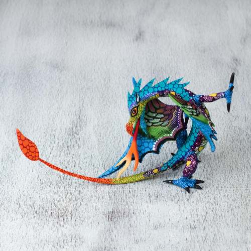 Copal Wood Dragon Alebrije Sculpture in Blue from Mexico 'Mexican Dragon in Blue'