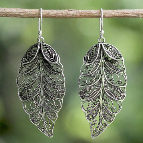 Sterling Silver Filigree Leaf Dangle Earrings from Thailand 'Feathered Leaves'
