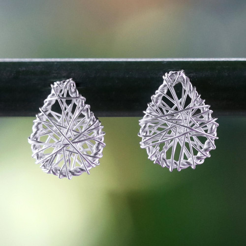 Sterling Silver Wrap Teardrop Stud Earrings from Thailand 'Teardrop Wrap'