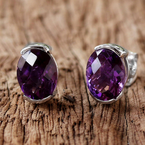 Amethyst and Sterling Silver Stud Earrings from Thailand 'Precious Plum'