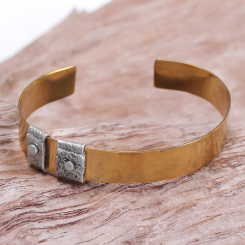 Sterling Silver Accent Brass Cuff Bracelet by Bali Artisans 'Island Journeys'