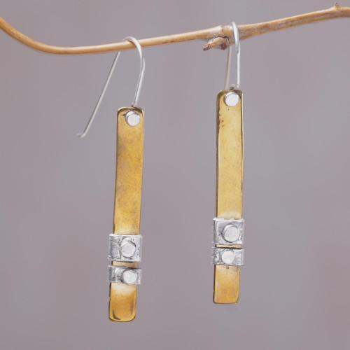 925 Sterling Silver Accent Brass Dangle Earrings from Bali 'Island Journey'