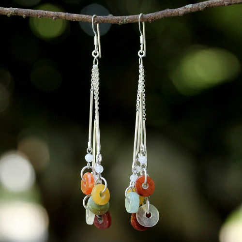 Multicolored Quartz and Jade Waterfall Earrings 'Earthy Blend'