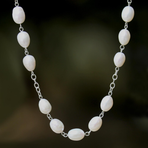 Station Necklace with Jade, Quartz and Cultured Pearl 'Enduring Classic'