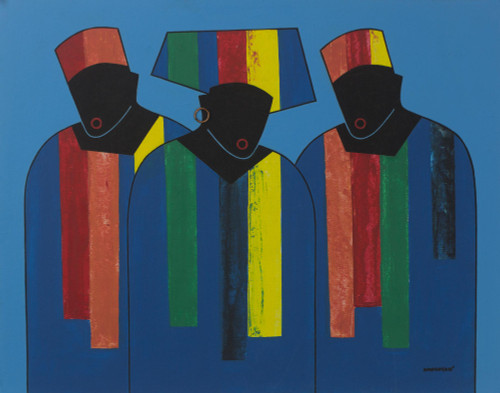 Signed Multicolored Cubist Painting of People from Ghana 'Fashion Preview'