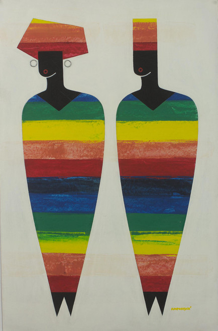 African Multicolored Cubist Painting of People from Ghana 'African Dress'