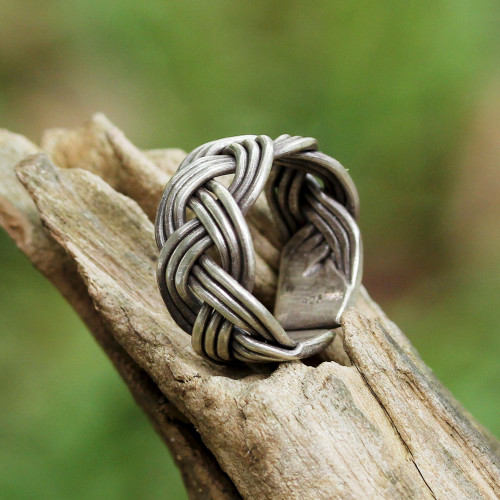 Braided Sterling Silver Wrap Ring from Thailand 'Woven Charm'