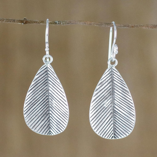 Leaf-Shaped Sterling Silver Dangle Earrings from Thailand 'Leafy Vibe'