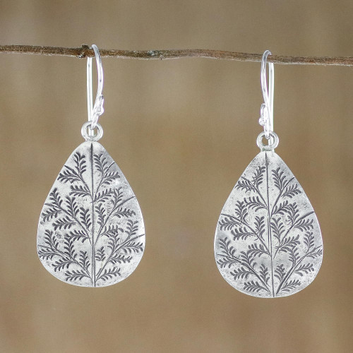 Drop-Shaped Sterling Silver Dangle Earrings from Thailand 'Drops of Nature'