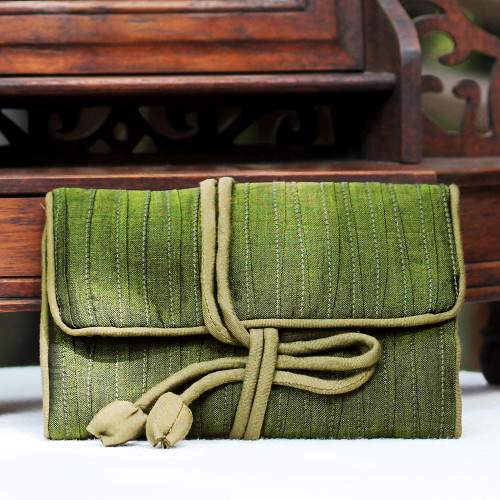 Hand Woven Silk and Rayon Blend Thai Jewelry Roll in Olive 'Enchanted Journey in Olive'