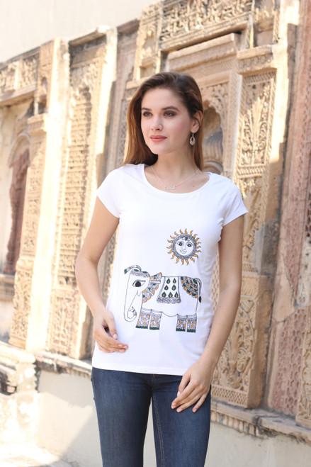 Indian Hand Painted Cotton Blend T-Shirt of Elephant and Sun 'Madhubani Elephant'
