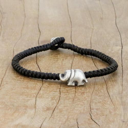 Karen Silver Elephant Bracelet in Brown from Thailand 'Darling Elephant in Brown'