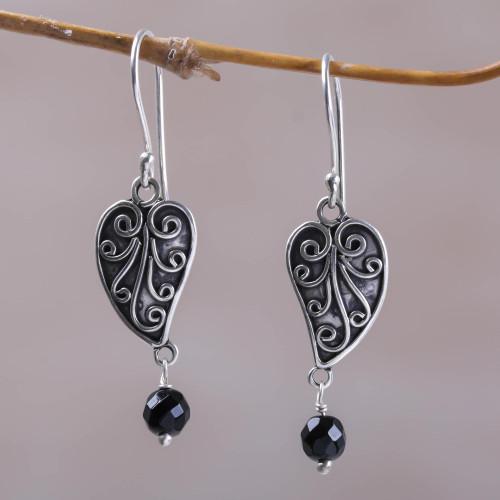 Sterling Silver and Onyx Leaf Dangle Earrings from Bali 'Love Leaf'