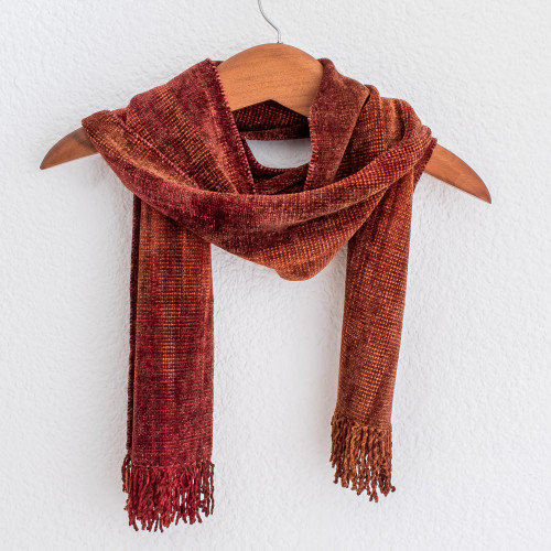 Handwoven Rayon Scarf in Orange and Red from Guatemala 'Orange Dreamer'