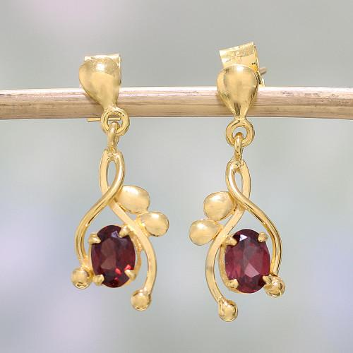 22k Gold Plated Garnet Dangle Earrings by Indian Artisans 'Red Twist'