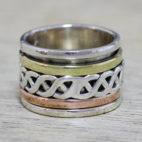 Sterling Silver Copper and Brass Spinner Ring from India 'Spinning Braid'