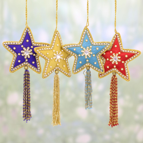4 Star Shaped Multicolored Embroidered Ornaments from India 'Glistening Stars'
