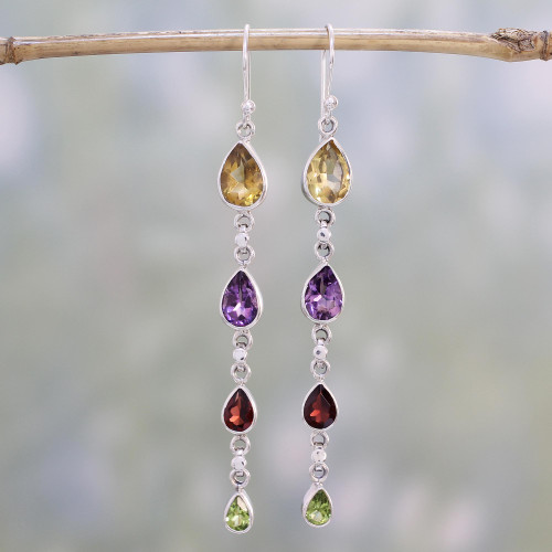 Multi-Gem Citrine Amethyst Garnet and Peridot Earrings 'Dazzling Drops'