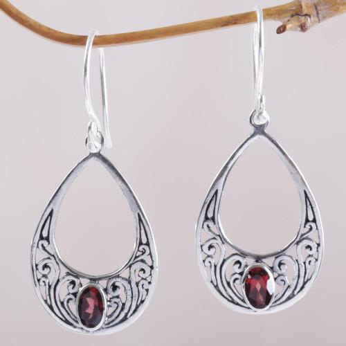 Garnet and 925 Silver Spiral Dangle Earrings from Bali 'Elegant Tears'