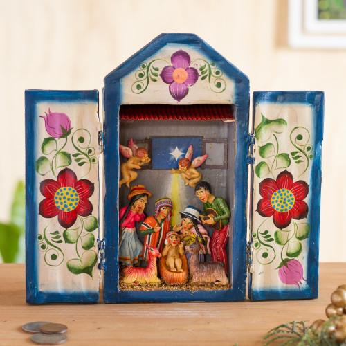 Handcrafted Christmas Manger Scene Retablo Diorama 'Nativity in the Highlands'