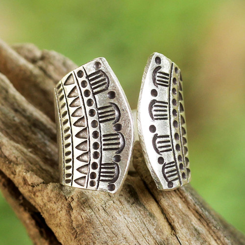 Sterling Silver Geometric Pattern Wrap Ring from Thailand 'Temple Geometry'