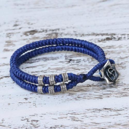 Karen Silver Rose Wristband Bracelet in Blue from Thailand 'Rosy Karen in Blue'