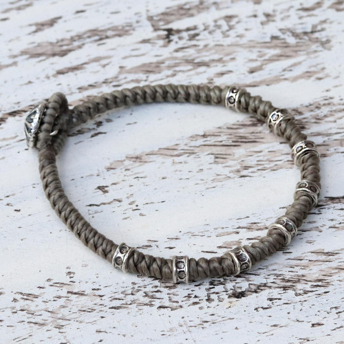 Braided Wristband Bracelet with Karen Silver from Thailand 'Good Living'