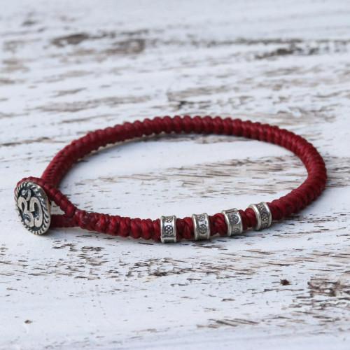 Karen Silver Om Wristband Bracelet in Red from Thailand 'Living Om in Red'