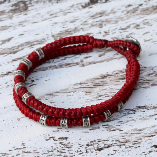 Double Strand Wristband Bracelet with Karen Silver in Red 'Living Together in Red'
