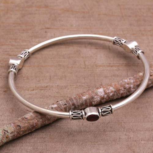 Sterling Silver 925 Bangle Bracelet with Garnet Large 'Harmony of Three'