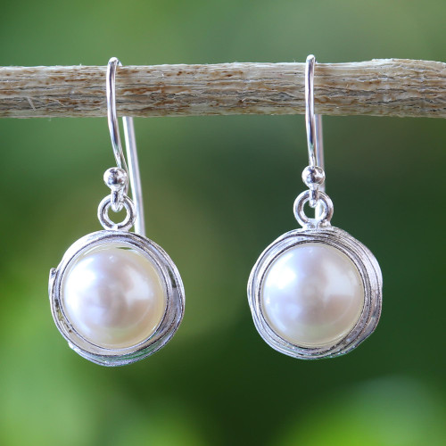 Cultured Pearl Dangle Earrings from Thailand 'Pearl Radiance'