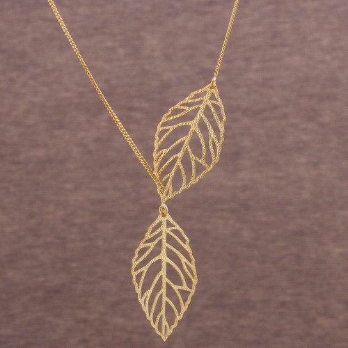 18k Gold Plated Sterling Silver Leaf Necklace from Peru 'Freedom of the Wind'
