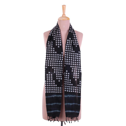Bubble Motif Printed Cotton Scarf in Ebony from India 'Beautiful Bubbles'
