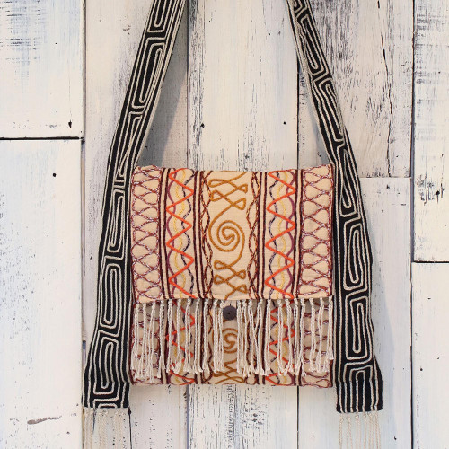 Hemp Blend Embroidered Shoulder Bag in Buff from Thailand 'Fresh Life in Buff'