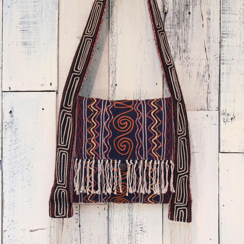 Hemp Blend Embroidered Shoulder Bag in Navy from Thailand 'Fresh Life in Navy'