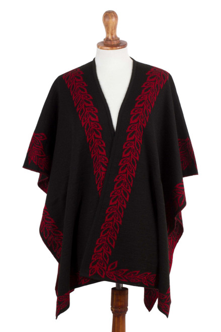 Black and Red Reversible Alpaca Blend Ruana from Peru 'Rose Attraction'