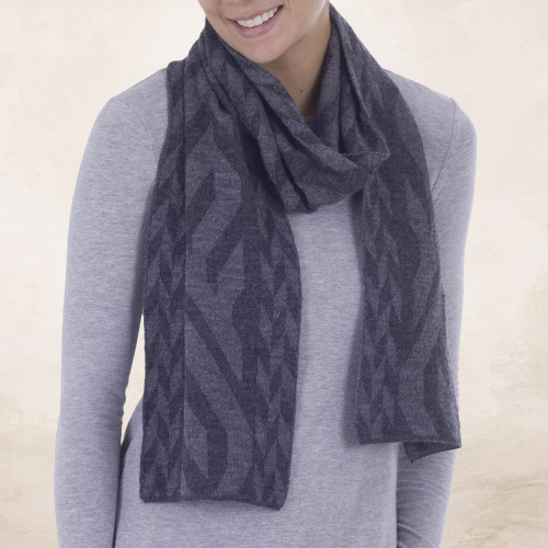 Alpaca Blend Scarf in Dolphin Grey and Slate from Peru 'Mountain Scent in Grey'
