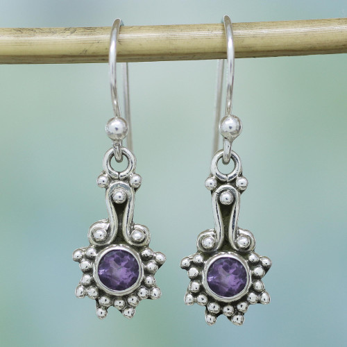 Amethyst and Sterling Silver Dot Motif Earrings from India 'Lilac Dots'