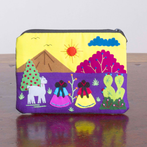 Embroidered Multicolor Cotton Blend Coin Purse from Peru 'Andean Sunrise'