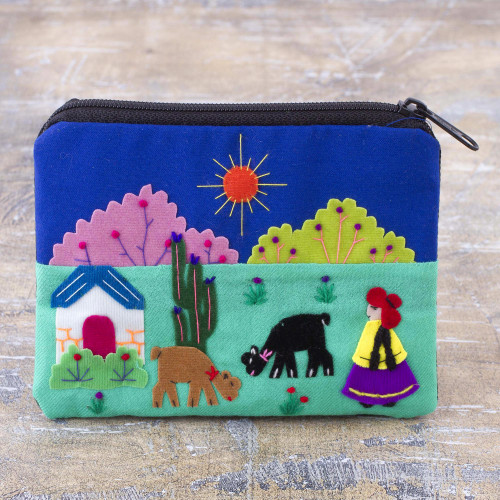 Embroidered Multicolor Cotton Blend Coin Purse from Peru 'Andean Sunshine'
