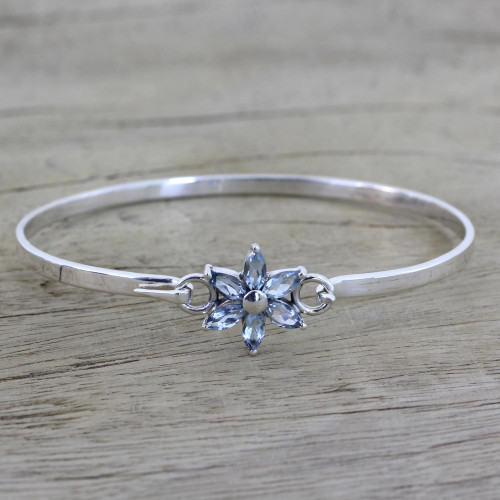 Blue Topaz and Sterling Silver Floral Bracelet from India 'Marquise Flower'
