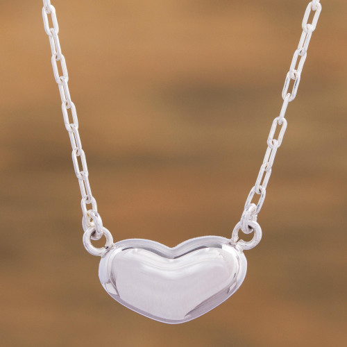 Handcrafted Taxco Sterling Silver Heart Theme Necklace 'Love from the Heart'