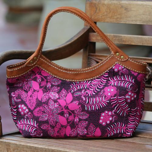 Batik Floral Leather Accent Cotton Handle Handbag from Bali 'Fuchsia Flowers'