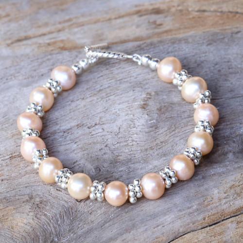 Karen Silver and Cultured Pearl Thai Beaded Bracelet 'Ocean Princess in Peach'