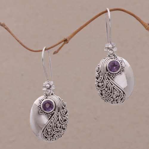 Amethyst and Sterling Silver Floral Dangle Earrings 'Spiral Garden'