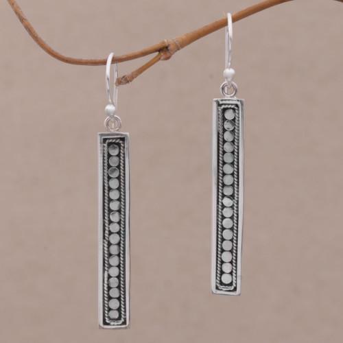 Handmade Long Sterling Silver Dangle Earrings from Bali 'Bold Hello'