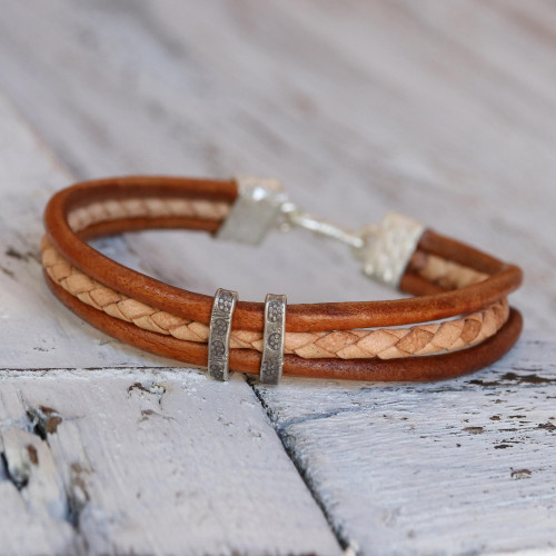 Brown and Tan Leather Bracelet with Hill Tribe Silver 'Tan Textural Contrast'