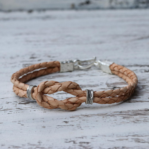 Braided Tan Leather Bracelet with Silver 950 Accents 'Square Knot in Tan'