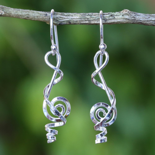 Clef Note Sterling Silver Music-themed Handmade Earrings 'Melody in Me'