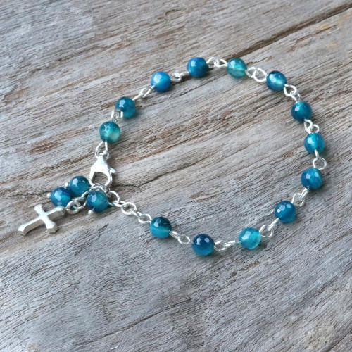 Blue Agate and Sterling Silver Cross Bracelet from Thailand 'Watery Cross'